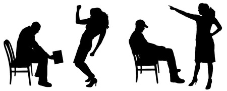 smack: Vector silhouette of people in different positions.