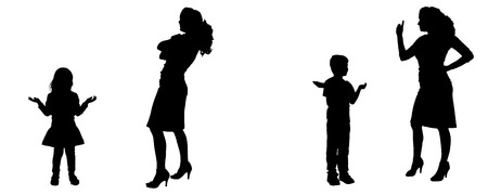 smack: Vector silhouette of family in different positions. Illustration