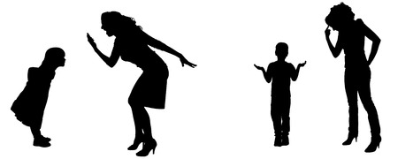 hassle: Vector silhouette of family in different positions. Illustration