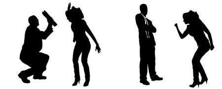 hassle: Vector silhouette of people in different positions.