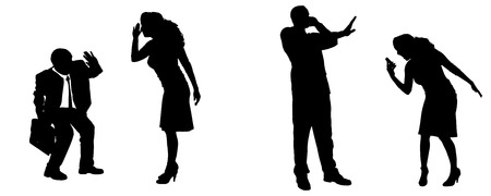 ire: Vector silhouette of people in different positions.