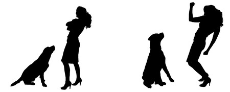 ire: Vector silhouette of people with a dog on a white background.