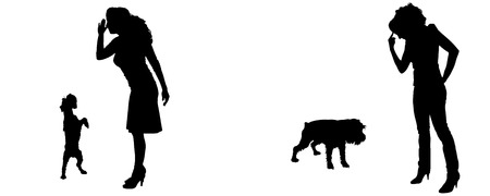 smack: Vector silhouette of people with a dog on a white background.