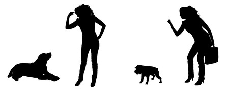 smack: silhouette of people with a dog on a white background.