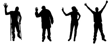 silhouette of people in different positions. Vector
