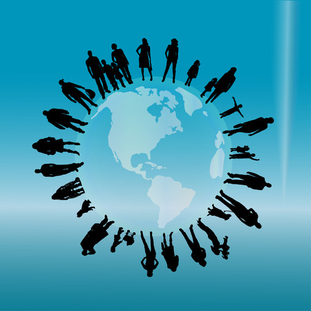 silhouette of a people on the globe. Vector