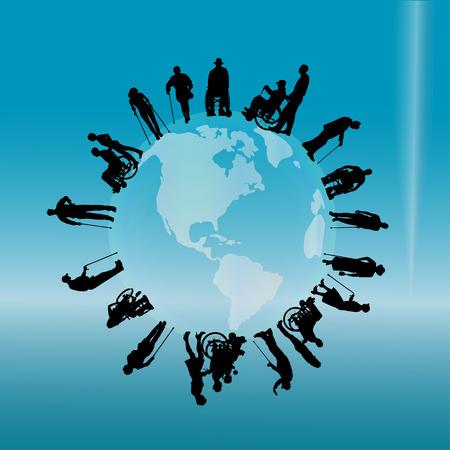 silhouette di un popolo con disabilità sul globo. Vettoriali