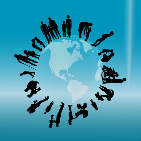 silhouette of family on earth on the blue background.