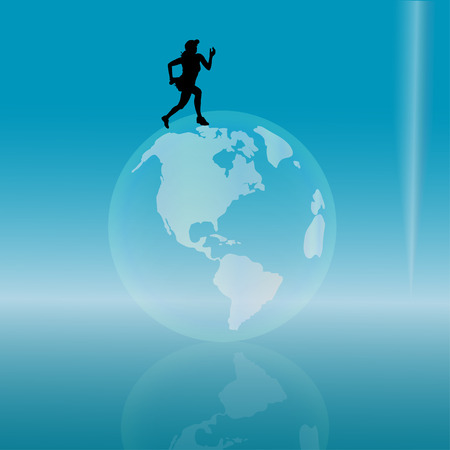 silhouette of woman on the globe. Vector