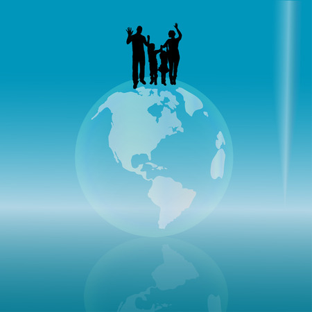 silhouette of family on earth on the blue background. Vector