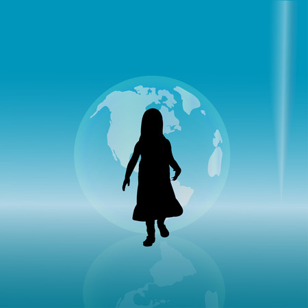 voyager: silhouette of a little girl with planet.