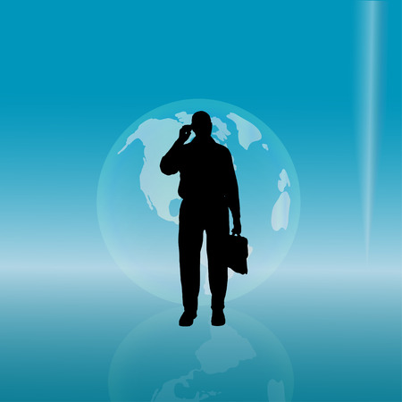 international news: silhouette of a businessman with a globe. Illustration