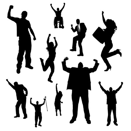 rejoice: Vector silhouette of people who rejoice white background.
