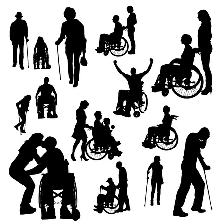 wheelchair: Vector silhouette of people with disabilities a white background.