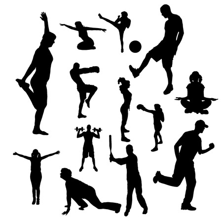 fotball: Vector silhouettes of people doing sports on a white background.