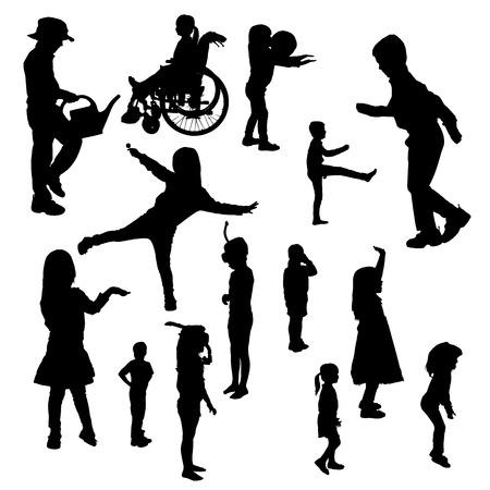 silueta niño: Vector siluetas de los niños en diversas situaciones de un fondo blanco.