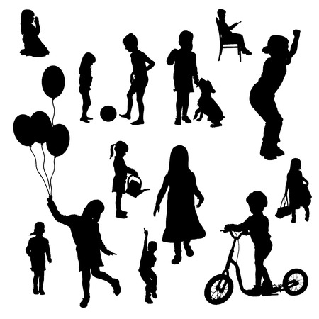 Vector silhouettes of children in various situations a white background. Ilustração