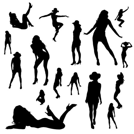 naked woman  white background: Vector silhouettes of sexy girls on white background. Illustration