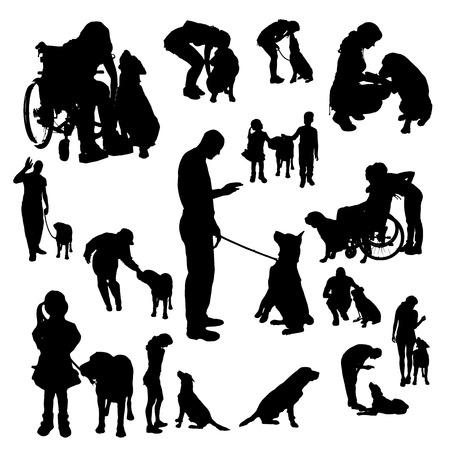 흰색 배경에 강아지와 함께 사람들의 벡터 실루엣.