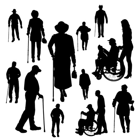 Vector silhouette of old people on white background. Vector