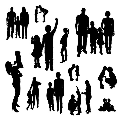 family fun: Vector silhouette of family on white background.