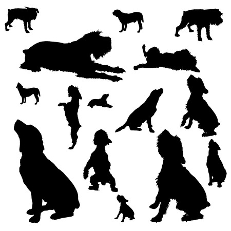 Vector silhouettes of different dogs on a white background. Vector