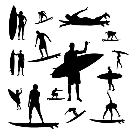 Vector silhouette of people who surf on a white background. Illustration