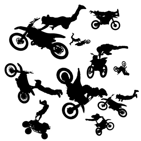 vector silhouette of a biker who jumps into the air. Vector