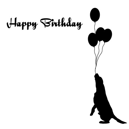 big dog: Vector silhouette of the dog with the words happy birthday.