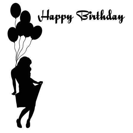 Vector silhouette of the woman with the words happy birthday. Vector