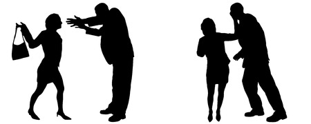 arguing: Vector silhouette of people who are arguing on a white background.