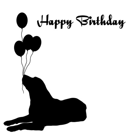 Vector silhouette of the dog with the words happy birthday. Vector