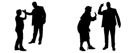 hassle: Vector silhouette of people who are arguing on a white background.