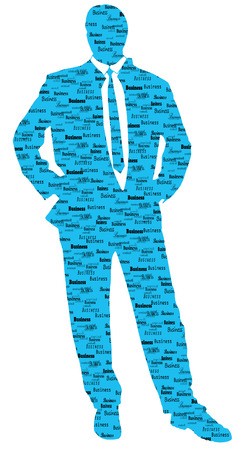 profesional: Vector silhouette of businessman on white background.