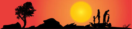 Vector silhouette of family on a hill at sunset. Vector
