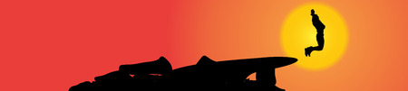 Vector silhouette of a man in nature at sunset. Vector