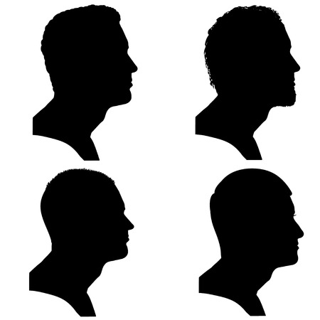a side: Vector silhouettes people in profile on white background.