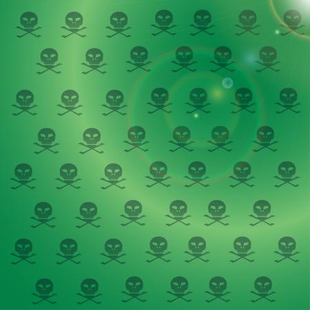 Vector wallpaper with skulls on green background. Vector