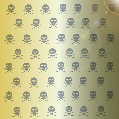 Vector wallpaper with skulls on yellow background. Vector