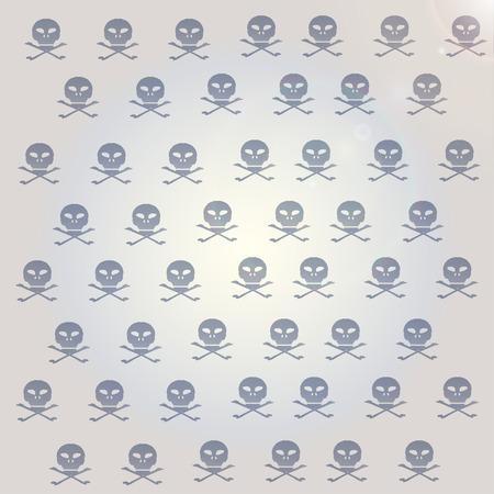 Vector wallpaper with skulls on gray background. Vector