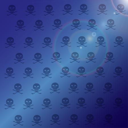 Vector wallpaper with skulls on blue background. Vector