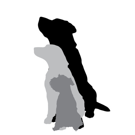 Vector silhouette of a dog on a white background. Vector