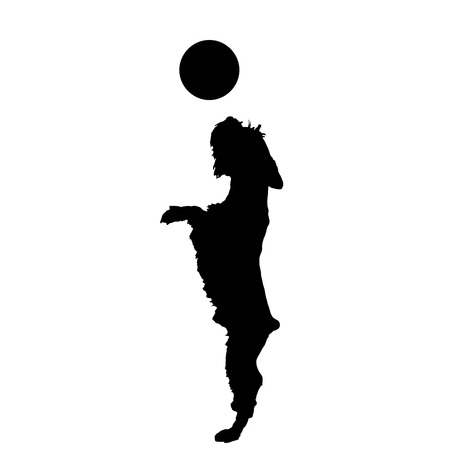 Vector silhouette of a dog playing with a balloon. Vector