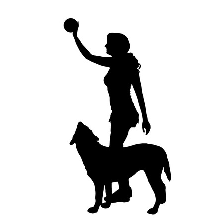 Vector silhouette of a woman who throws a dog balloon. Vector