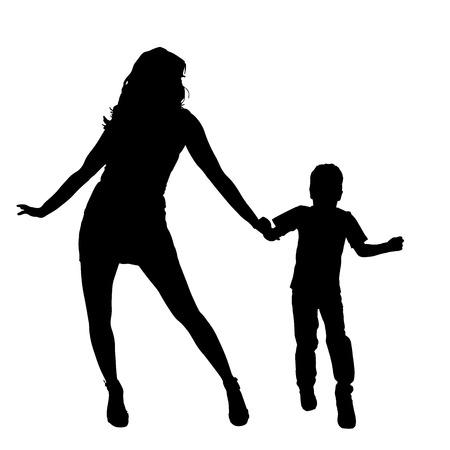 niños danzando: Vector silueta de la familia en el fondo blanco. Vectores