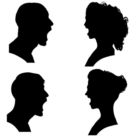 Vector silhouettes people in profile on white background. Vector