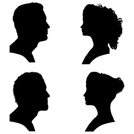 simbolo uomo donna: Vector sagome di persone di profilo su sfondo bianco.