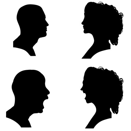 hassle: Vector silhouettes people in profile on white background.