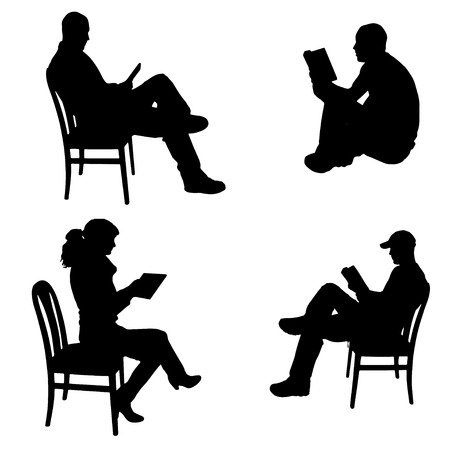 Vector silhouette of people who read on a white background. Illustration