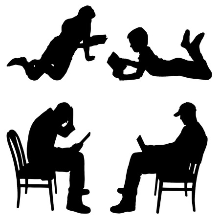 Vector silhouette of people who read on a white background. Vector